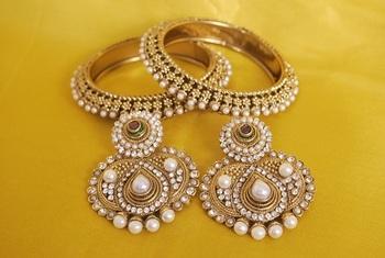 JevantaBai's Traditional Pearl Earings & Gold Plated Bangles