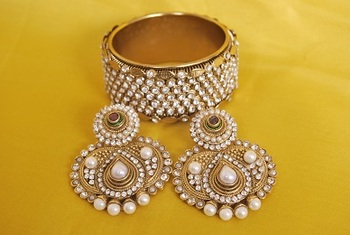 JevantaBai's Traditional Pearl Earings & Gold Plated stones Kada