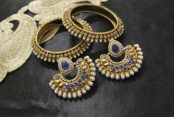 New Ram Leela Blue colour Earrings with Gold Plated Bangles