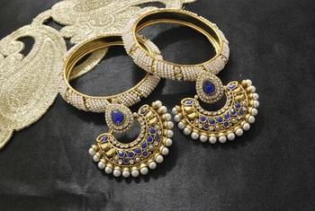 New Ram Leela Blue colour Earrings with White colour Bead Bangles set