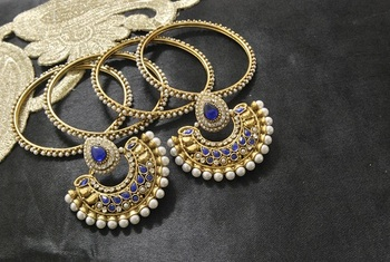 New Ram Leela Blue colour Earrings with Gold Plated Bangles of 4 pcs set