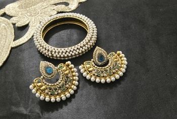 New Ram Leela Rama Green colour Earrings with Gold Plated Kada studded with Pearl
