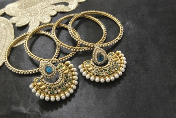 New Ram Leela Rama Green colour Earrings with Gold Plated Bangles of 4 pcs set