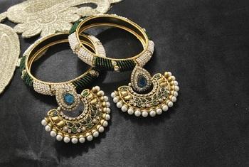 New Ram Leela Rama Green colour Earrings with White & Green colour Bead Bangles set