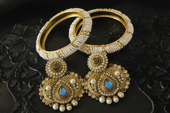 JevantaBai's Traditional Blue colour Earings & Gold Plated White Bead Bangles