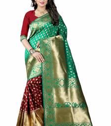 Buy Green printed art silk saree with blouse bengali-saree online