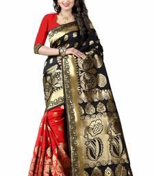 Buy Black printed art silk saree with blouse banarasi-silk-saree online