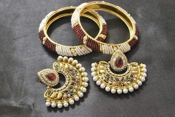 New Ram Leela Maroon & Green Colour Earrings with White & Red colour Bead Bangles set
