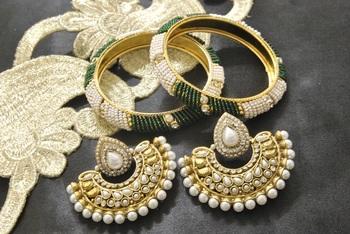 New Ram Leela Pearl Earrings with White & Green colour Bead Bangles set
