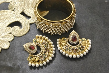 New Ram Leela Maroon & Green Colour Earrings with Gold Plated Kada studded with stones