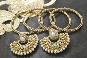 New Ram Leela Pearl Earrings with Gold Plated Bangles of 4 pcs set