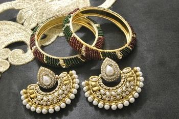 New Ram Leela Pearl Earrings with Maroon & Green colour Bead Bangles set