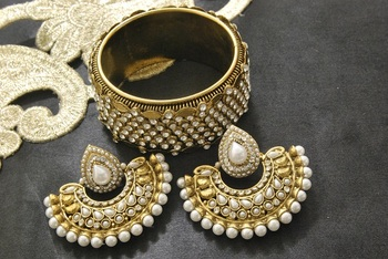 New Ram Leela Pearl Earrings with Gold Plated Stones Kada