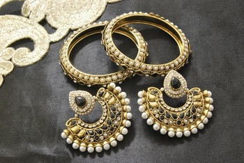 New Ram Leela Black colour Earrings with Gold Plated Bangles