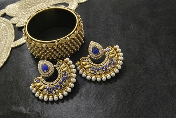 New Ram Leela Blue colour Earrings with Gold Plated Pearl Kada