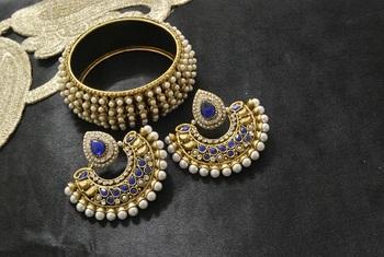 New Ram Leela Blue colour Earrings with Gold Plated Pearl Kada
