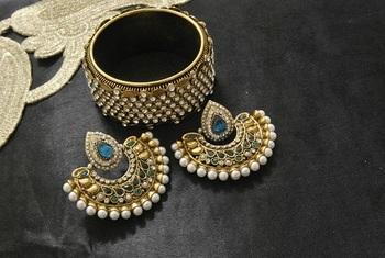 New Ram Leela Rama Green colour Earrings with Gold Plated Stones Kada
