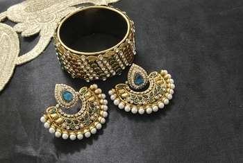 New Ram Leela Rama Green colour Earrings with Multicolour Gold Plated Stones Kada