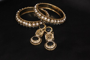 Gold Plated Handcrafted Black Colour Earrings & Stone Bangles
