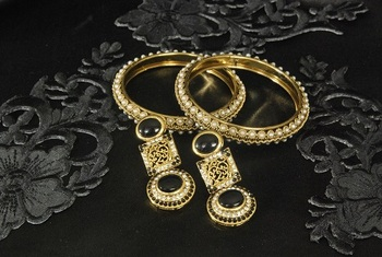 Gold Plated Handcrafted Black Colour Earrings & Gold Plated Bangles