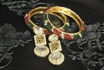 Gold Plated Handcrafted Kundan Earrings with Multicolour Bead Bangles set