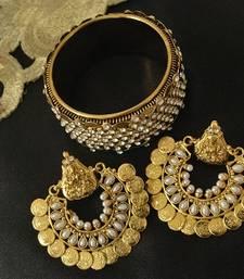 Ram Leela Moti Earrings & Kada with stones