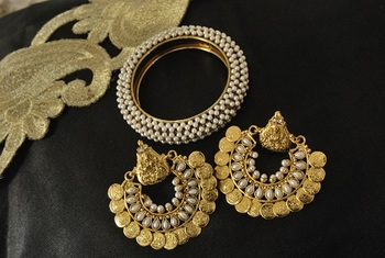 Ram Leela Pearl Earrings with Single piece kada studded with pearl