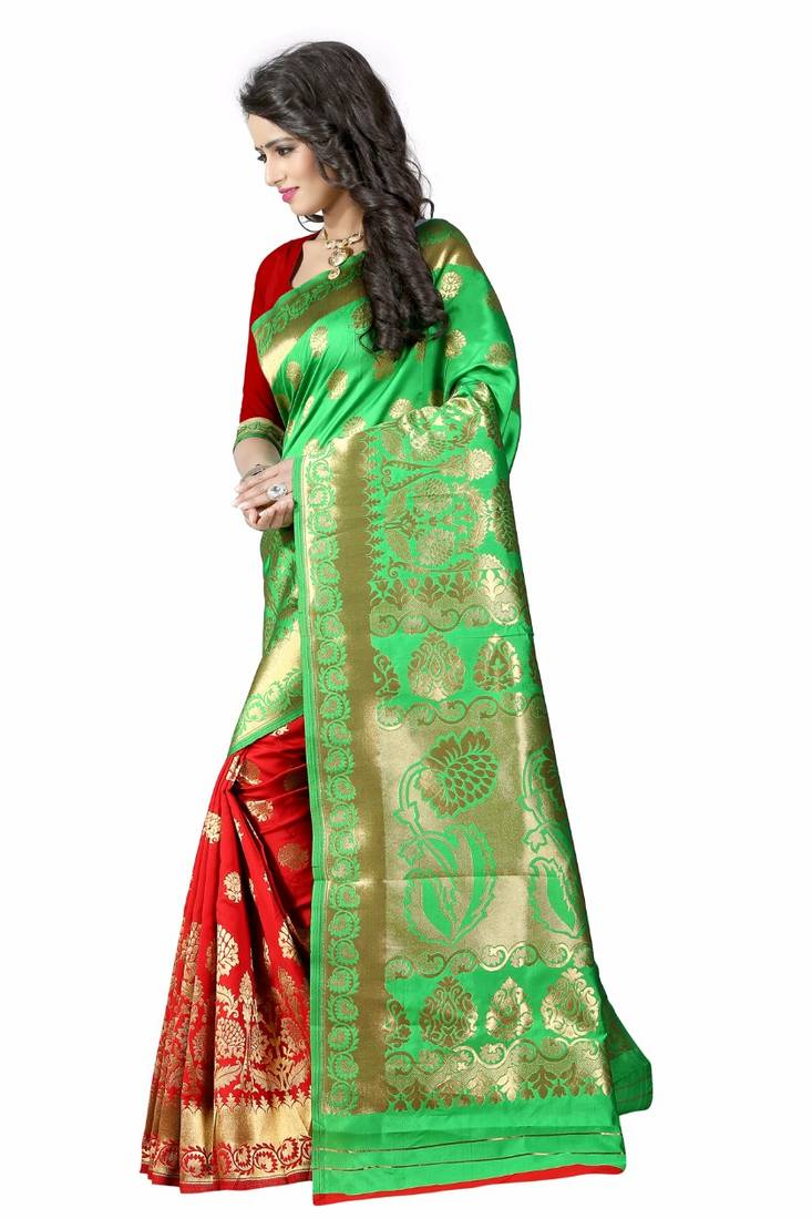 a8796c54e932fc Parrot green woven art silk semi stitched banarasi saree with blouse ...