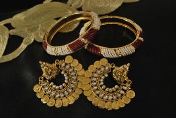 Ram Leela Kundan Earrings with Red & White Bead Bangles
