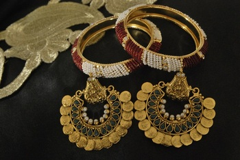 Ram Leela Green colour Earrings with Gold Plated White & Red Beaded Bangles set