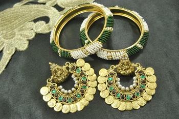 Ram Leela Maroon & Green colour Earrings with Gold Plated Green Bead Bangles set