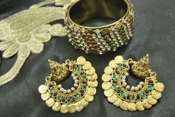 Ram Leela Maroon & Green colour Earrings with Gold Plated multi Stone Kada