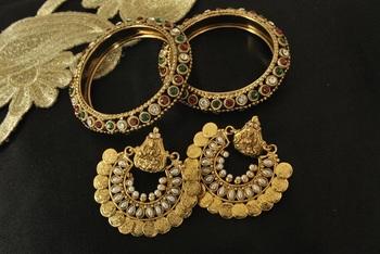 Ram Leela Pearl Earrings with Gold Plated Maroon & Green stone Bangles