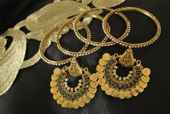 Ram Leela Green colour Earrings with Gold Plated 4pc set Pearl Bangles