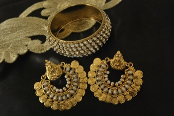 Ram Leela Pearl Earrings with Gold Plated Stones Kada
