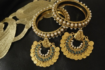 Ram Leela Green Colour Earrings with Gold Plated Pearl Bangles