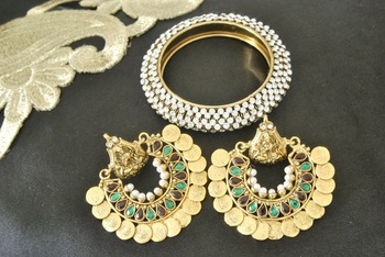 Ram Leela Maroon & Green colour Earrings with Gold Plated Kada studded with Stones