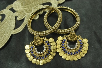 Ram Leela Blue Colour Earrings with Gold Plated Pearl Bangles