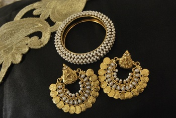 Ram Leela Pearl Earrings with Gold Plated Kada studded with Pearl