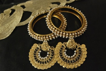 Ram Leela Black Colour Earrings with Gold Plated Pearl Bangles