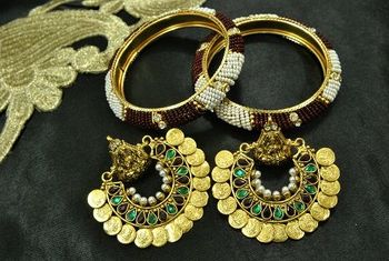 Ram Leela Maroon & Green colour Earrings with Gold Plated Beaded Bangles set