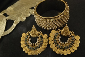 Ram Leela Green Colour Earrings with Gold Plated Pearl Kada