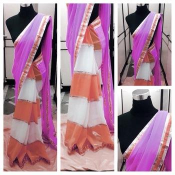 Orange and White geogette Saree,