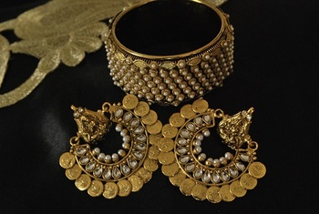 Ram Leela Kundan Earrings with Gold Plated Pearl Kada