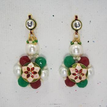 Meenakari Ball Earring with Cutting Drops (Red Green)
