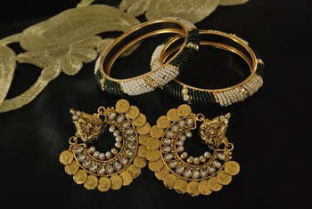 Ram Leela Kundan Earrings with Gold Plated Green Colour beaded Bangles