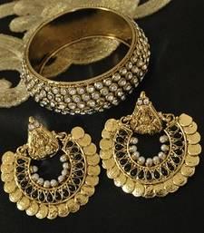 Ram Leela Black Colour Earrings With Gold Plated Stones Kada Online