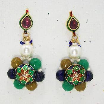 Meenakari Ball Earring with Cutting Drops (Red Blue)