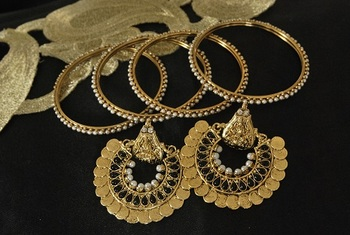 Ram Leela Black colour Earrings with 4pcs Gold Plated Bangles set