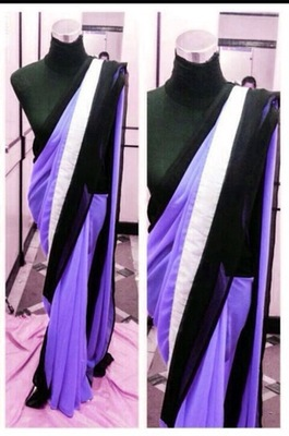 Purple Georgette saree with Black lace all  over and  white on the pallu.  Black Raw Silk Blouse 80cm Unstitched